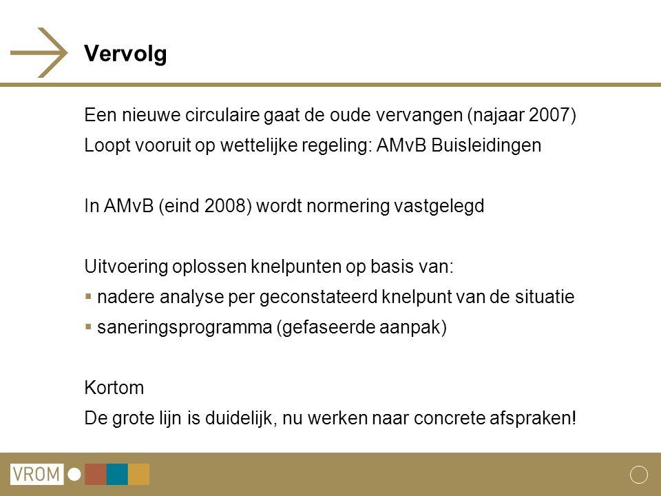 Vervolg Een nieuwe circulaire gaat de oude vervangen (najaar 2007) Loopt vooruit op wettelijke regeling: AMvB Buisleidingen In AMvB (eind 2008) wordt
