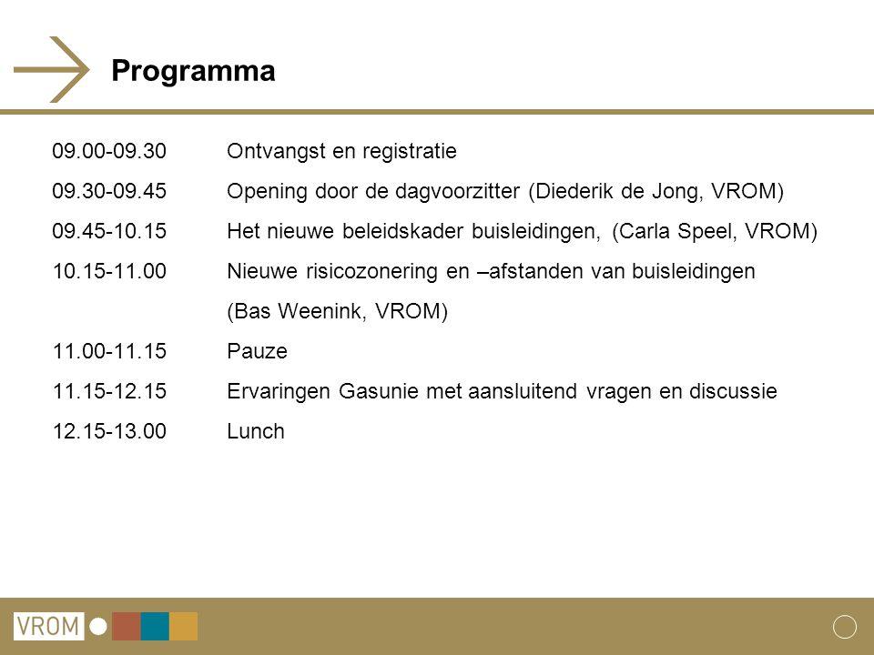 Programma 09.00-09.30Ontvangst en registratie 09.30-09.45Opening door de dagvoorzitter (Diederik de Jong, VROM) 09.45-10.15Het nieuwe beleidskader bui