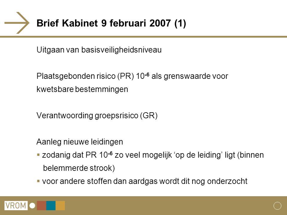 Brief Kabinet 9 februari 2007 (1) Uitgaan van basisveiligheidsniveau Plaatsgebonden risico (PR) 10 -6 als grenswaarde voor kwetsbare bestemmingen Verantwoording groepsrisico (GR) Aanleg nieuwe leidingen  zodanig dat PR 10 -6 zo veel mogelijk 'op de leiding' ligt (binnen belemmerde strook)  voor andere stoffen dan aardgas wordt dit nog onderzocht
