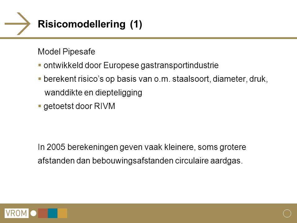 Risicomodellering (1) Model Pipesafe  ontwikkeld door Europese gastransportindustrie  berekent risico's op basis van o.m. staalsoort, diameter, druk