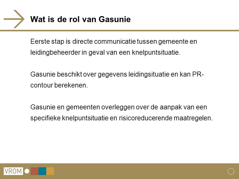Wat is de rol van Gasunie Eerste stap is directe communicatie tussen gemeente en leidingbeheerder in geval van een knelpuntsituatie. Gasunie beschikt