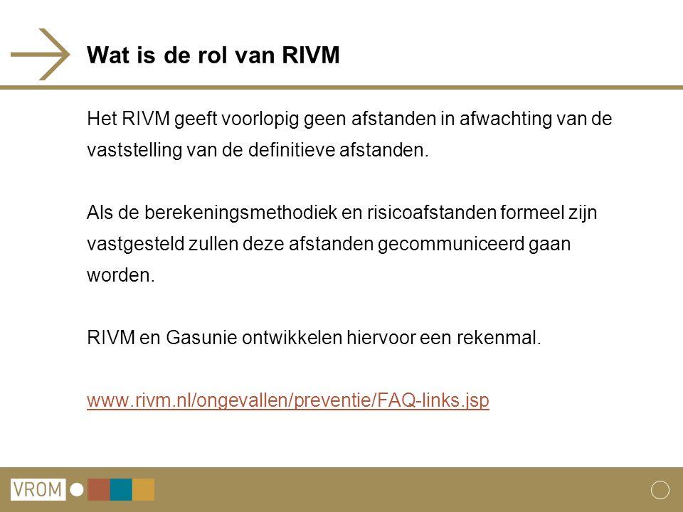 Wat is de rol van RIVM Het RIVM geeft voorlopig geen afstanden in afwachting van de vaststelling van de definitieve afstanden. Als de berekeningsmetho