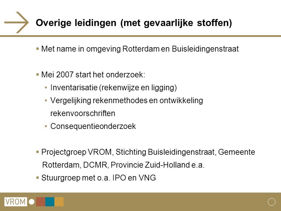 Overige leidingen (met gevaarlijke stoffen)  Met name in omgeving Rotterdam en Buisleidingenstraat  Mei 2007 start het onderzoek: Inventarisatie (re