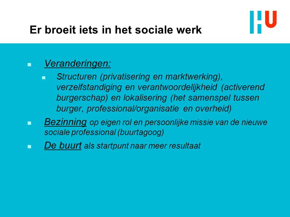 Er broeit iets in het sociale werk n Veranderingen: n Structuren (privatisering en marktwerking), verzelfstandiging en verantwoordelijkheid (activeren