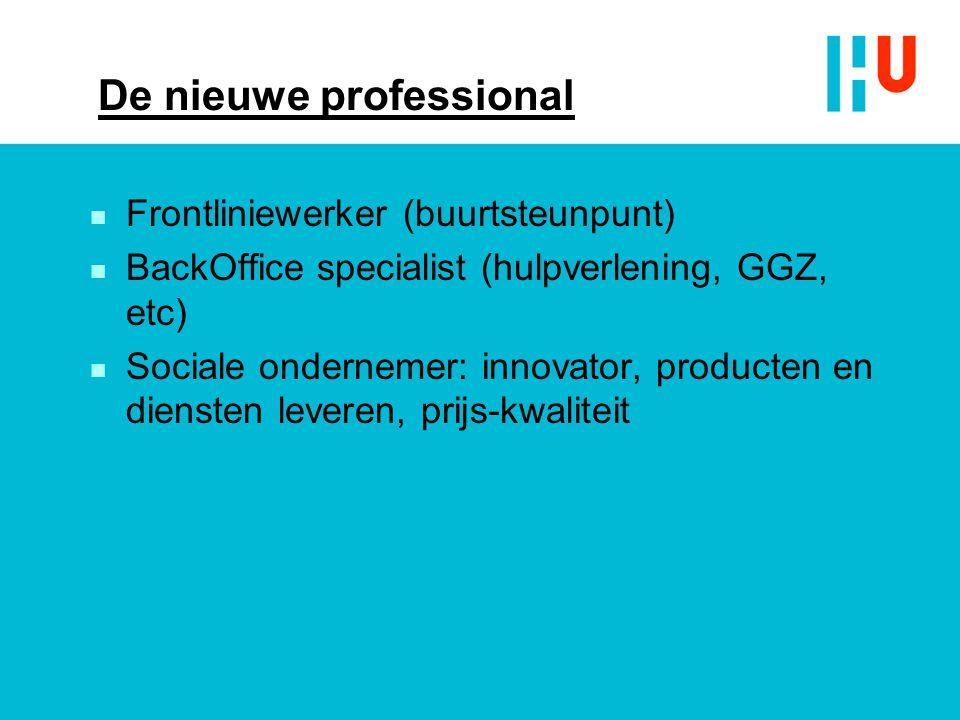 De nieuwe professional n Frontliniewerker (buurtsteunpunt) n BackOffice specialist (hulpverlening, GGZ, etc) n Sociale ondernemer: innovator, producte