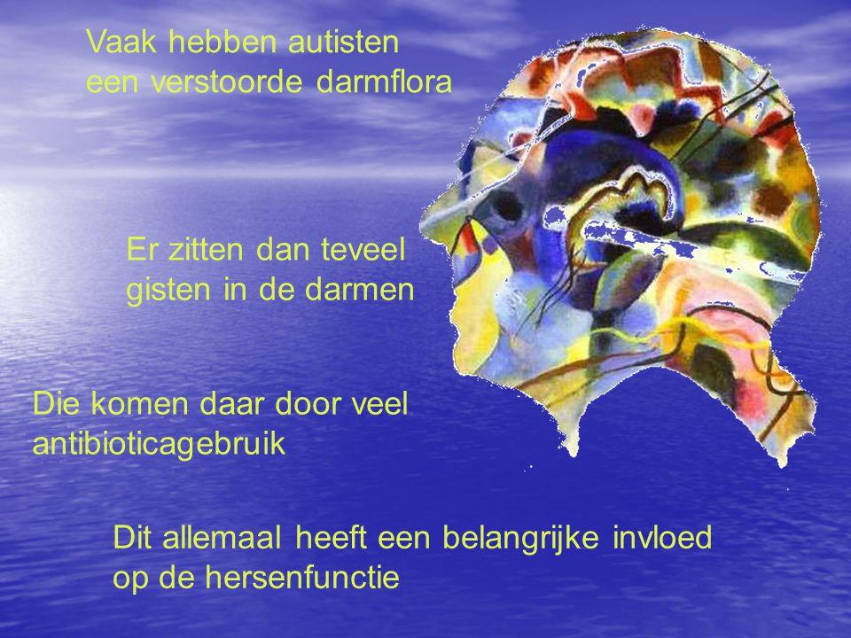 Vaak hebben autisten een verstoorde darmflora Er zitten dan teveel gisten in de darmen Die komen daar door veel antibioticagebruik Dit allemaal heeft een belangrijke invloed op de hersenfunctie
