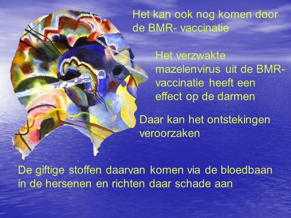 Het kan ook nog komen door de BMR- vaccinatie Het verzwakte mazelenvirus uit de BMR- vaccinatie heeft een effect op de darmen Daar kan het ontstekingen veroorzaken De giftige stoffen daarvan komen via de bloedbaan in de hersenen en richten daar schade aan
