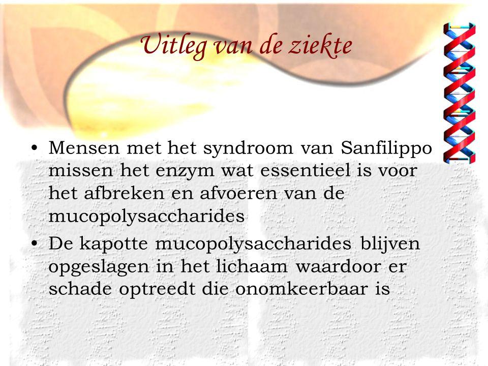 Uitleg van de ziekte Mensen met het syndroom van Sanfilippo missen het enzym wat essentieel is voor het afbreken en afvoeren van de mucopolysaccharide