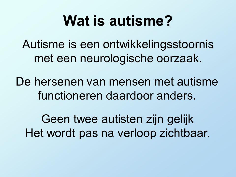 Geen twee autisten zijn gelijk Het wordt pas na verloop zichtbaar.
