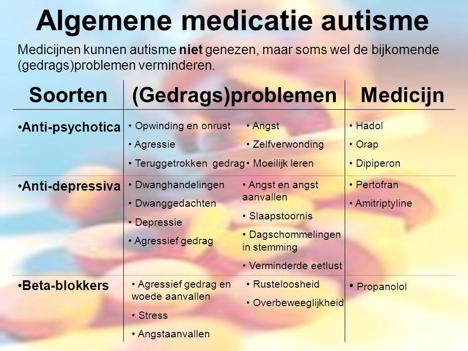 Algemene medicatie autisme Soorten(Gedrags)problemenMedicijn Anti-psychotica Anti-depressiva Beta-blokkers Opwinding en onrust Agressie Teruggetrokken