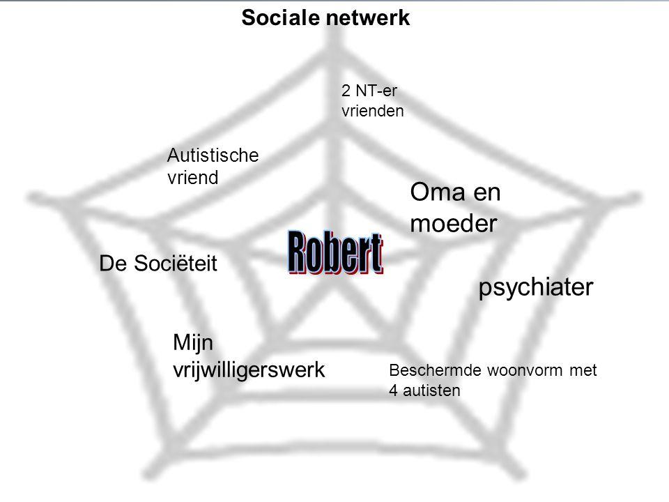 Sociale netwerk Oma en moeder Autistische vriend Beschermde woonvorm met 4 autisten De Sociëteit Mijn vrijwilligerswerk 2 NT-er vrienden psychiater