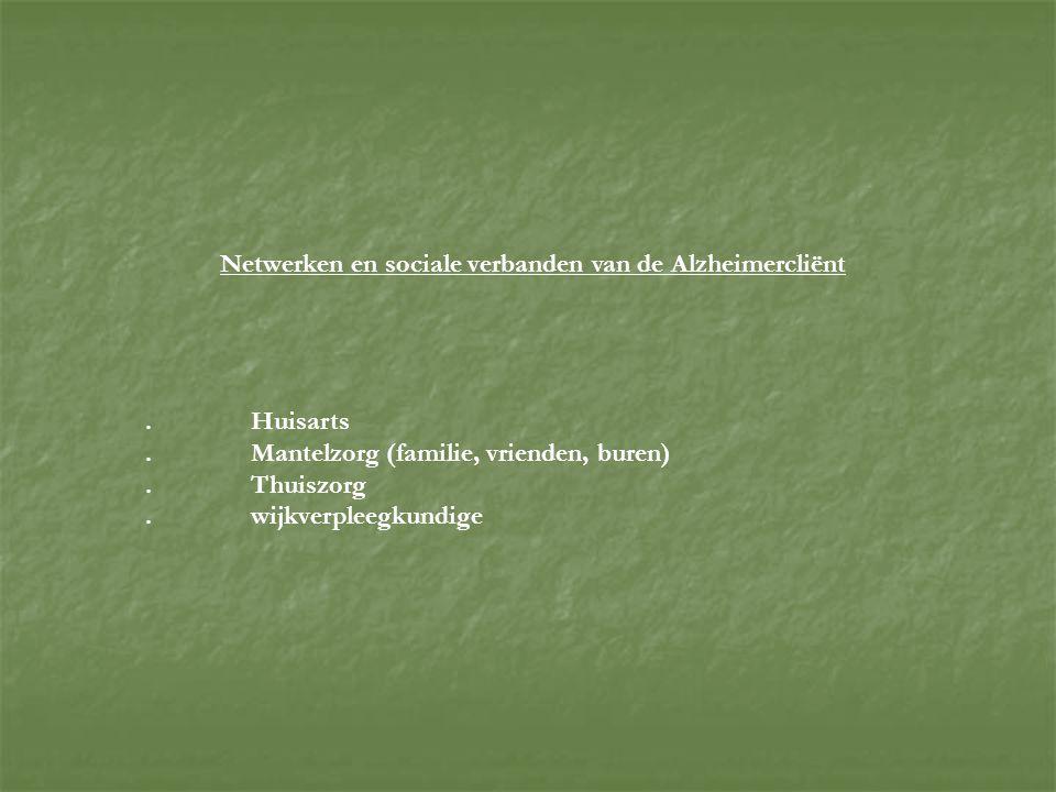 Netwerken en sociale verbanden van de Alzheimercliënt.Huisarts.Mantelzorg (familie, vrienden, buren).Thuiszorg.wijkverpleegkundige