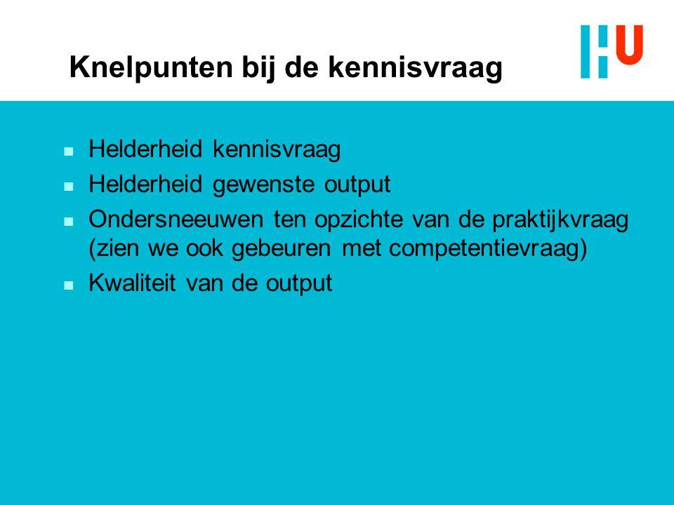 Knelpunten bij de kennisvraag n Helderheid kennisvraag n Helderheid gewenste output n Ondersneeuwen ten opzichte van de praktijkvraag (zien we ook gebeuren met competentievraag) n Kwaliteit van de output