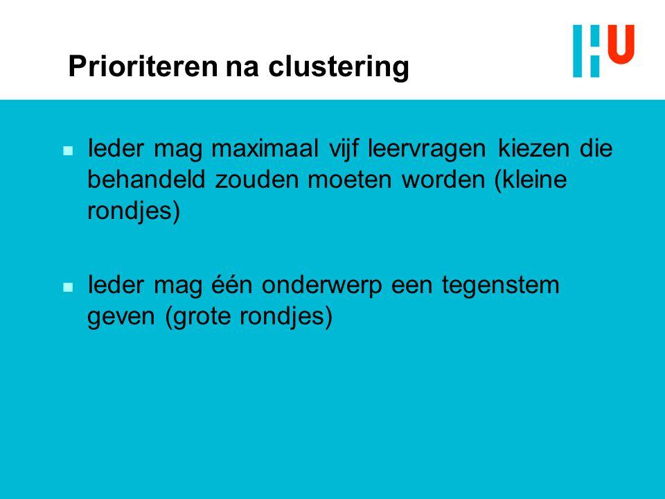 Prioriteren na clustering n Ieder mag maximaal vijf leervragen kiezen die behandeld zouden moeten worden (kleine rondjes) n Ieder mag één onderwerp een tegenstem geven (grote rondjes)