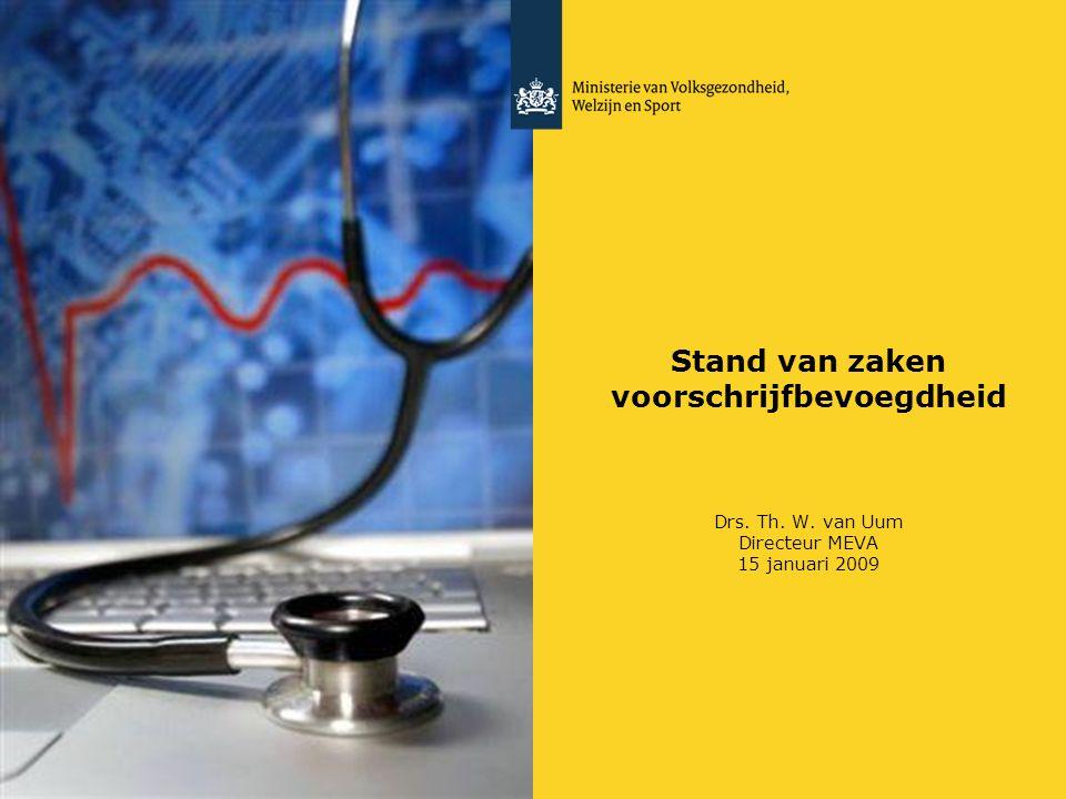 Stand van zaken voorschrijfbevoegdheid Drs. Th. W. van Uum Directeur MEVA 15 januari 2009