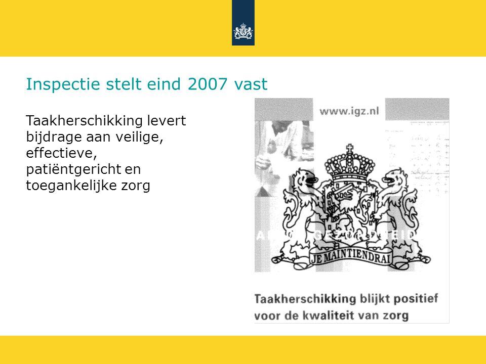 Inspectie stelt eind 2007 vast Taakherschikking levert bijdrage aan veilige, effectieve, patiëntgericht en toegankelijke zorg