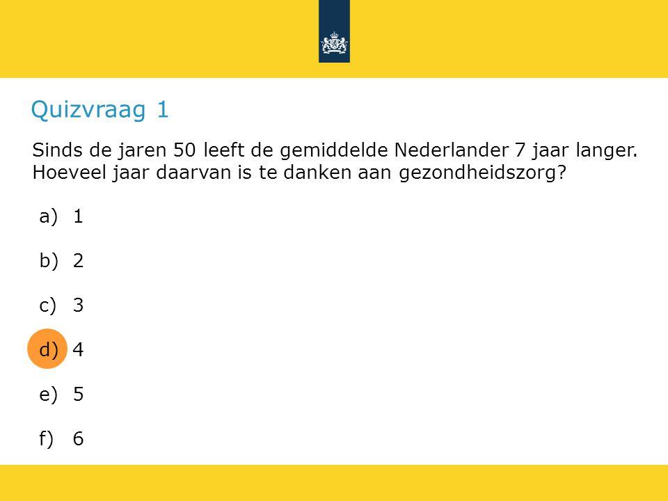 Quizvraag 1 Sinds de jaren 50 leeft de gemiddelde Nederlander 7 jaar langer.