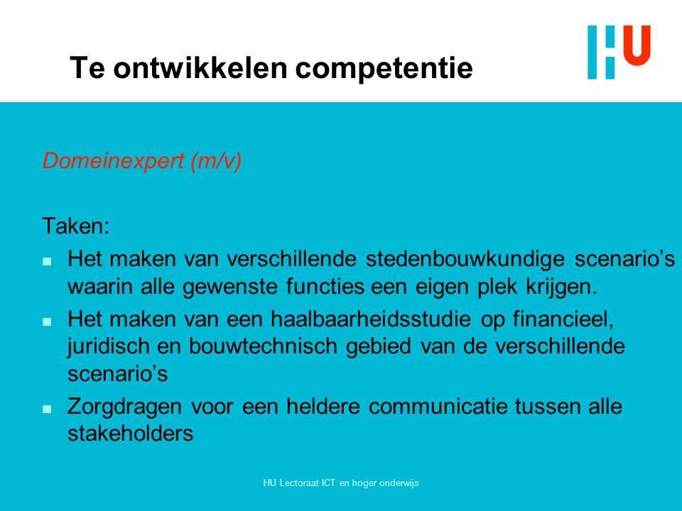 HU Lectoraat ICT en hoger onderwijs Te ontwikkelen competentie Domeinexpert (m/v) Taken: n Het maken van verschillende stedenbouwkundige scenario's wa