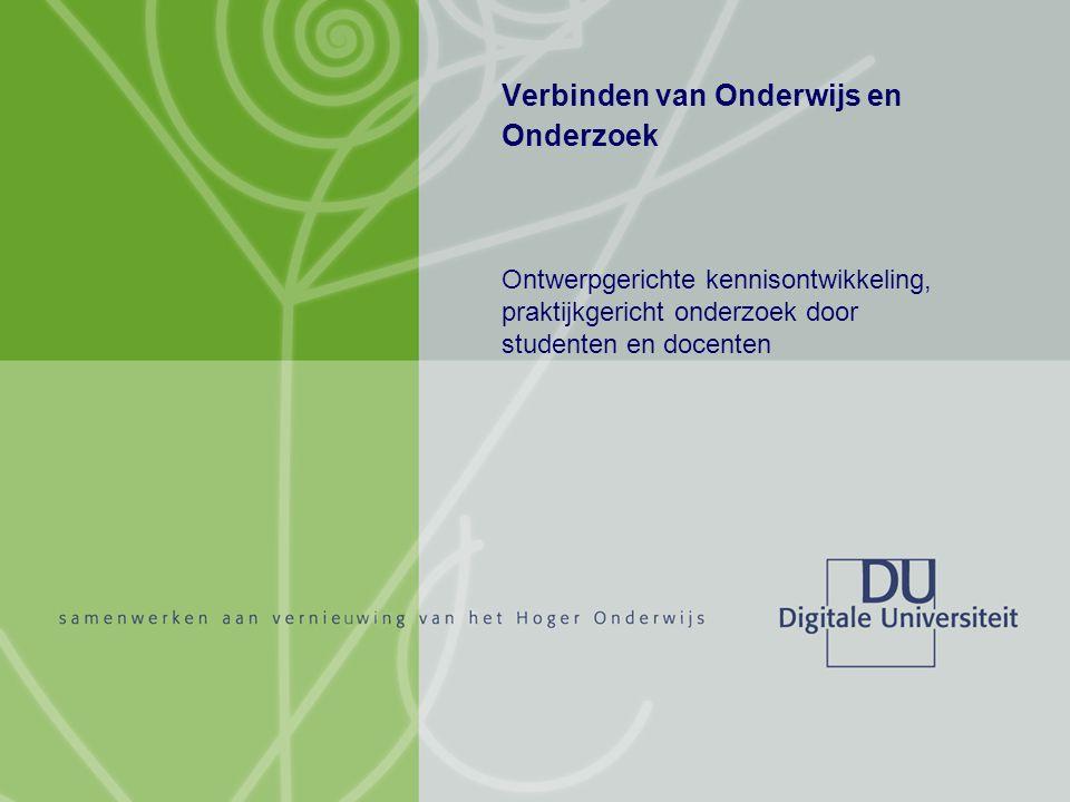 Titel auteur oktober 2004 1/10 Verbinden van Onderwijs en Onderzoek Ontwerpgerichte kennisontwikkeling, praktijkgericht onderzoek door studenten en docenten
