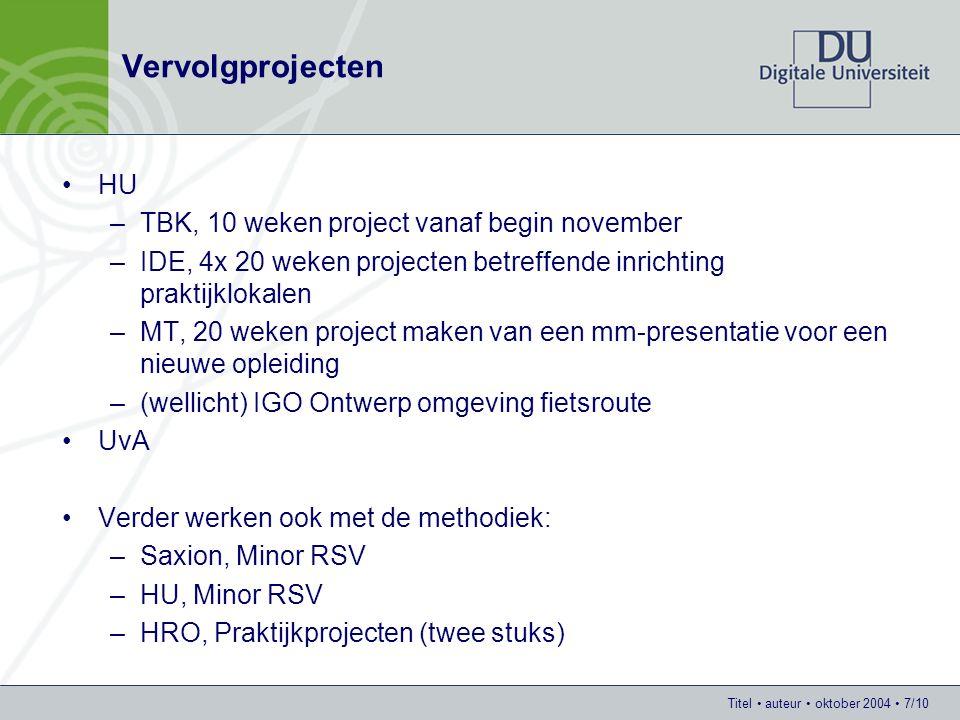 Titel auteur oktober 2004 7/10 Vervolgprojecten HU –TBK, 10 weken project vanaf begin november –IDE, 4x 20 weken projecten betreffende inrichting praktijklokalen –MT, 20 weken project maken van een mm-presentatie voor een nieuwe opleiding –(wellicht) IGO Ontwerp omgeving fietsroute UvA Verder werken ook met de methodiek: –Saxion, Minor RSV –HU, Minor RSV –HRO, Praktijkprojecten (twee stuks)