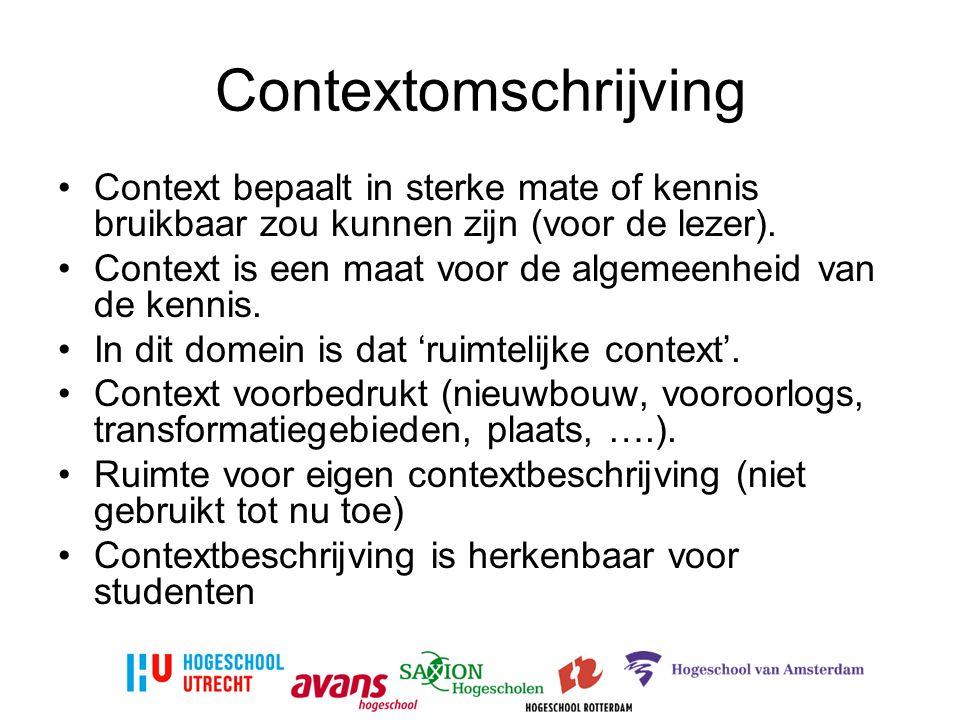 Contextomschrijving Context bepaalt in sterke mate of kennis bruikbaar zou kunnen zijn (voor de lezer).
