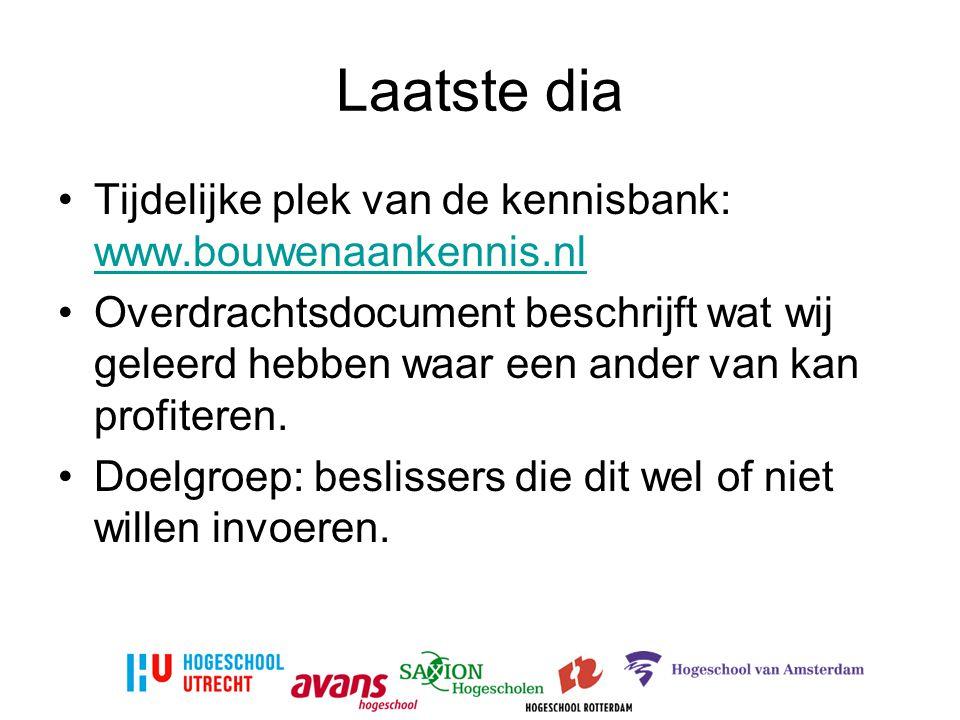 Laatste dia Tijdelijke plek van de kennisbank: www.bouwenaankennis.nl www.bouwenaankennis.nl Overdrachtsdocument beschrijft wat wij geleerd hebben waar een ander van kan profiteren.