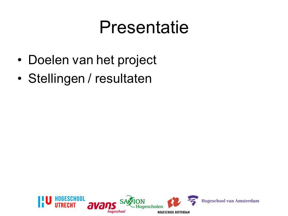 Presentatie Doelen van het project Stellingen / resultaten