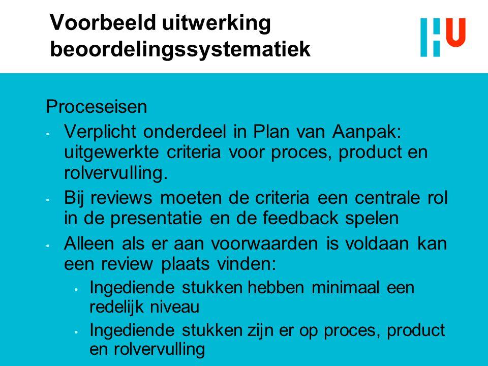 Voorbeeld uitwerking beoordelingssystematiek Proceseisen Verplicht onderdeel in Plan van Aanpak: uitgewerkte criteria voor proces, product en rolvervulling.