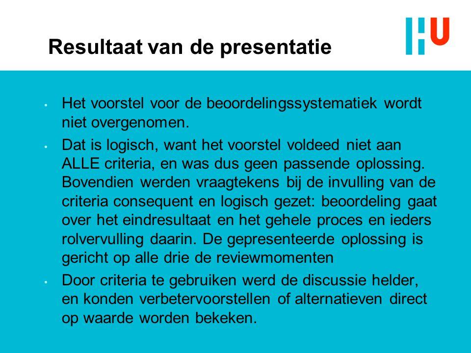 Resultaat van de presentatie Het voorstel voor de beoordelingssystematiek wordt niet overgenomen.