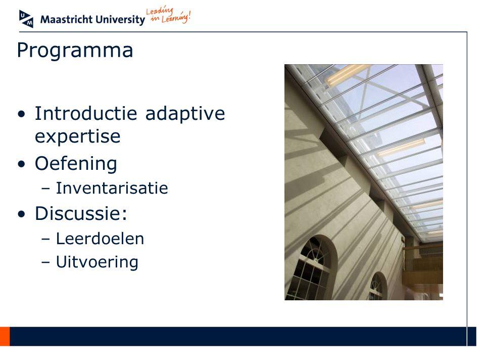 Programma Introductie adaptive expertise Oefening –Inventarisatie Discussie: –Leerdoelen –Uitvoering