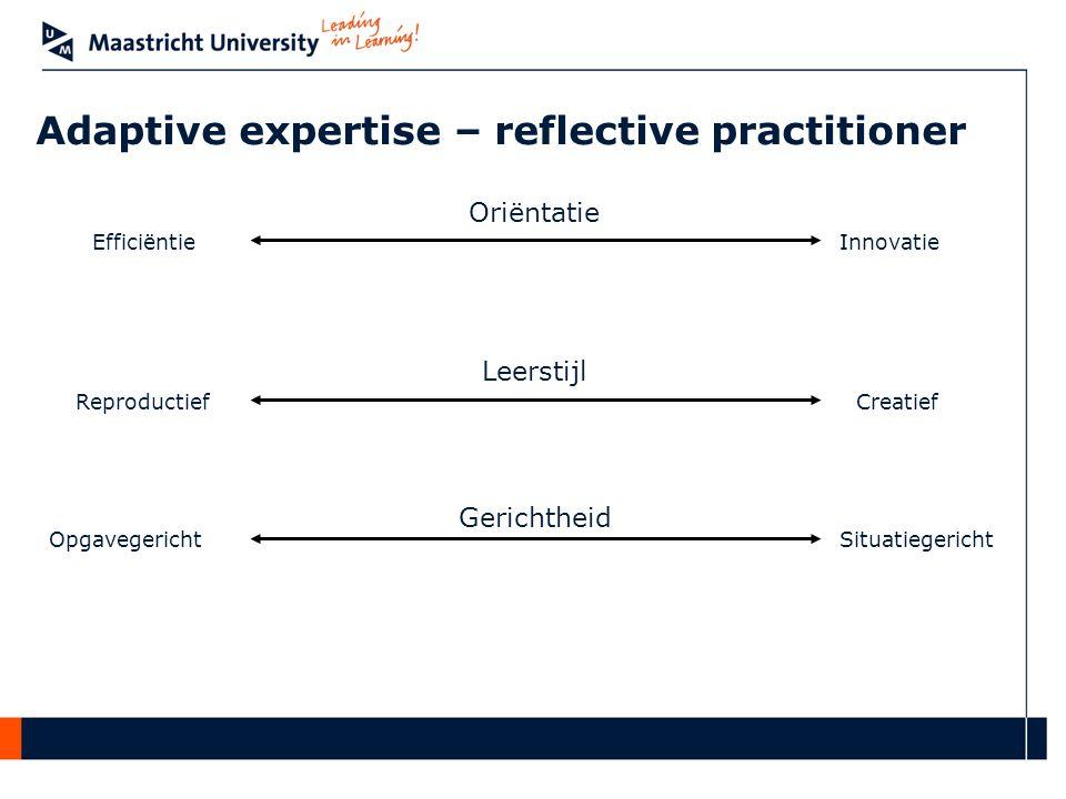 Oriëntatie InnovatieEfficiëntie Leerstijl CreatiefReproductief Gerichtheid SituatiegerichtOpgavegericht Adaptive expertise – reflective practitioner