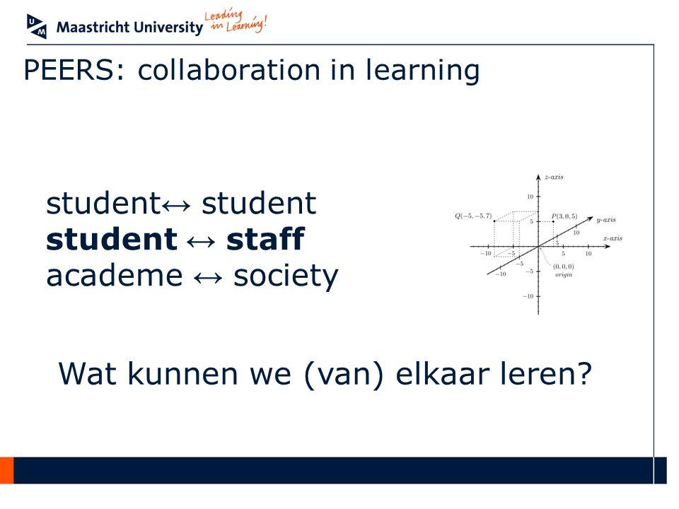 PEERS: collaboration in learning student ↔ student student ↔ staff academe ↔ society Wat kunnen we (van) elkaar leren?