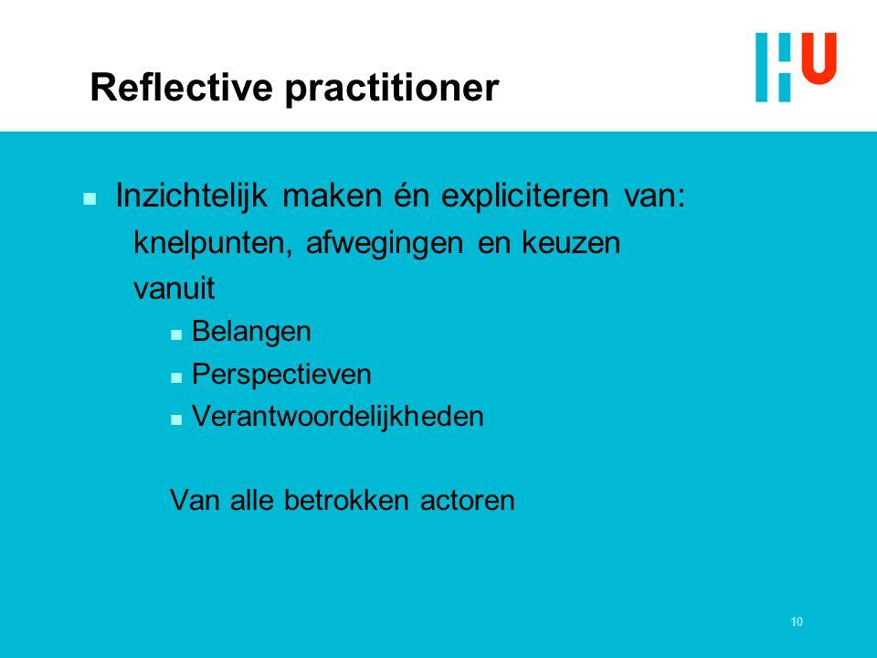 10 Reflective practitioner n Inzichtelijk maken én expliciteren van: knelpunten, afwegingen en keuzen vanuit n Belangen n Perspectieven n Verantwoorde