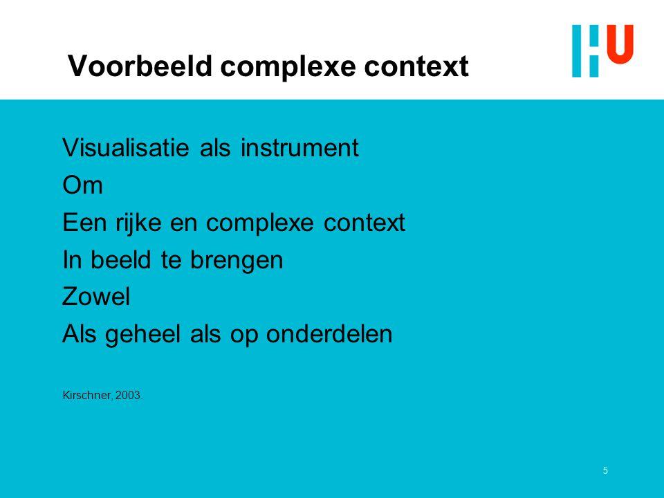 5 Voorbeeld complexe context Visualisatie als instrument Om Een rijke en complexe context In beeld te brengen Zowel Als geheel als op onderdelen Kirschner, 2003.