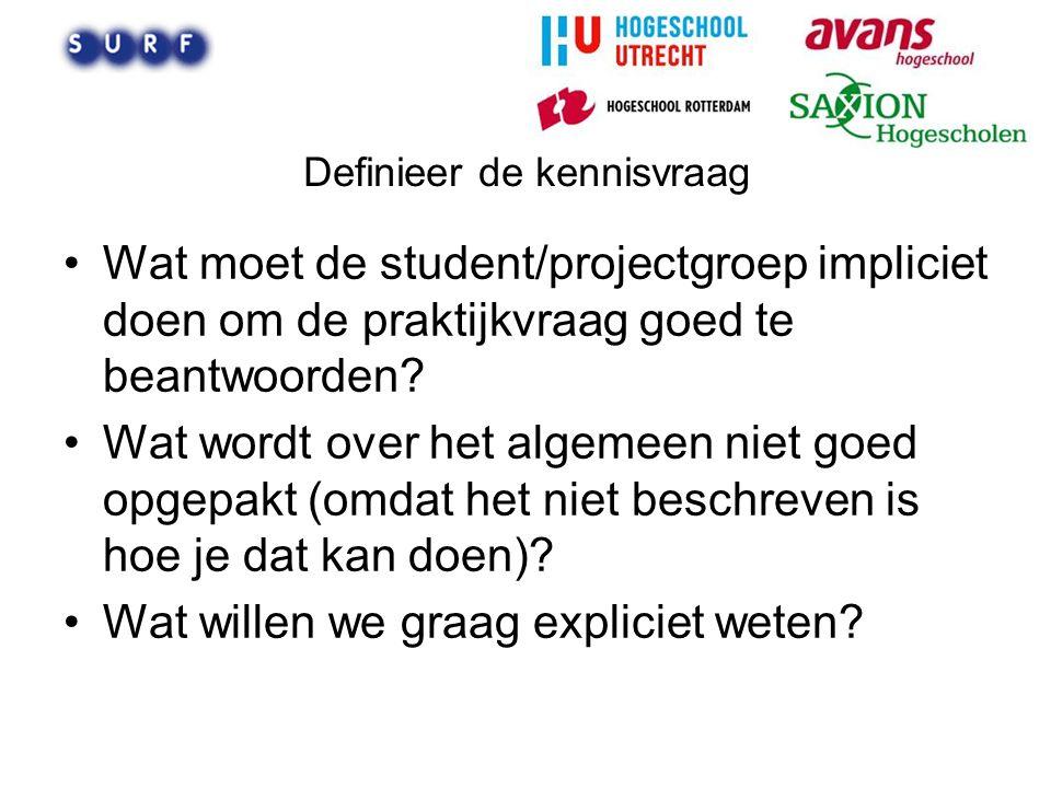 Definieer de kennisvraag Wat moet de student/projectgroep impliciet doen om de praktijkvraag goed te beantwoorden? Wat wordt over het algemeen niet go