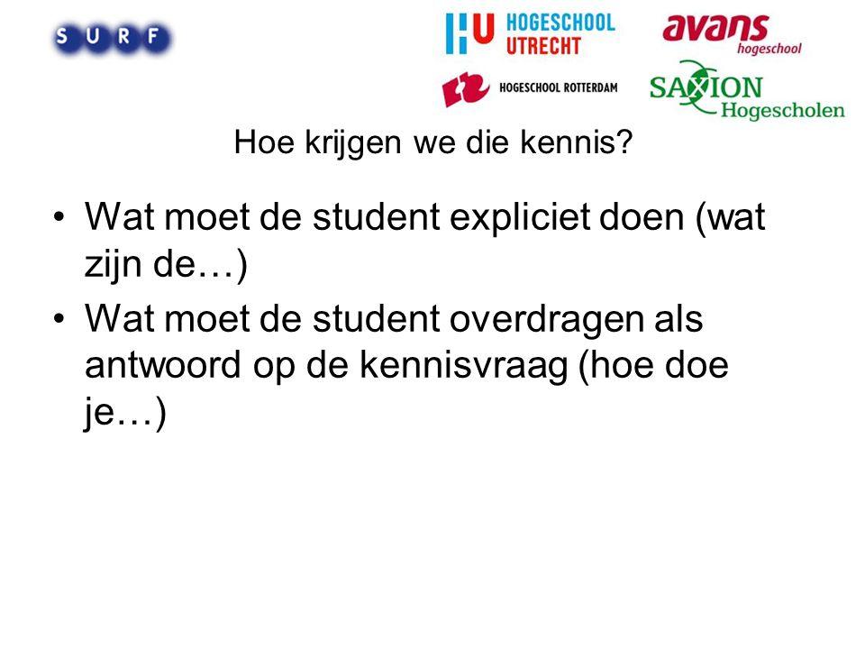 Hoe krijgen we die kennis? Wat moet de student expliciet doen (wat zijn de…) Wat moet de student overdragen als antwoord op de kennisvraag (hoe doe je