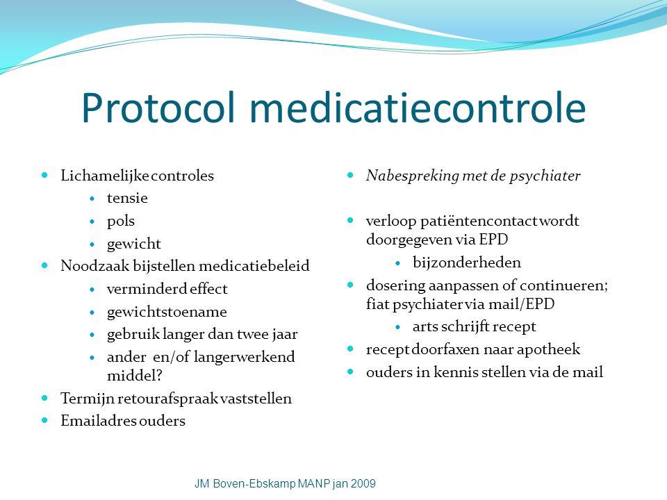 Protocol medicatiecontrole Lichamelijke controles tensie pols gewicht Noodzaak bijstellen medicatiebeleid verminderd effect gewichtstoename gebruik la