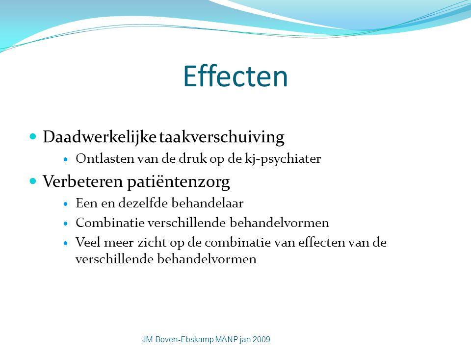 Effecten Daadwerkelijke taakverschuiving Ontlasten van de druk op de kj-psychiater Verbeteren patiëntenzorg Een en dezelfde behandelaar Combinatie ver