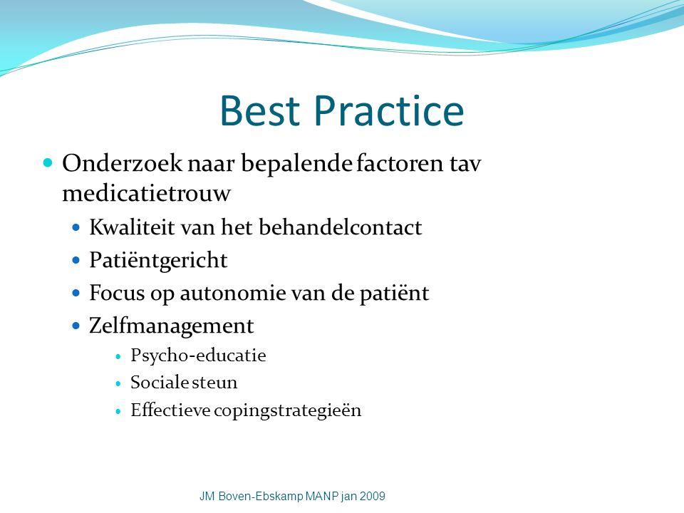 Best Practice Onderzoek naar bepalende factoren tav medicatietrouw Kwaliteit van het behandelcontact Patiëntgericht Focus op autonomie van de patiënt