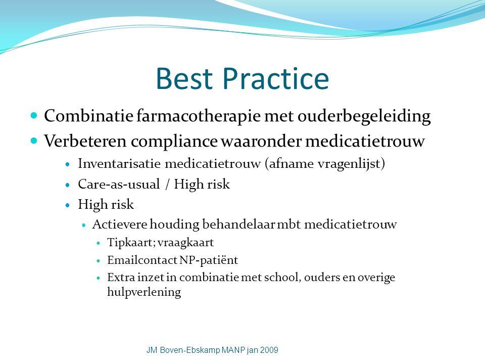 Best Practice Combinatie farmacotherapie met ouderbegeleiding Verbeteren compliance waaronder medicatietrouw Inventarisatie medicatietrouw (afname vra