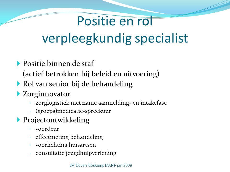 Positie en rol verpleegkundig specialist  Positie binnen de staf (actief betrokken bij beleid en uitvoering)  Rol van senior bij de behandeling  Zo