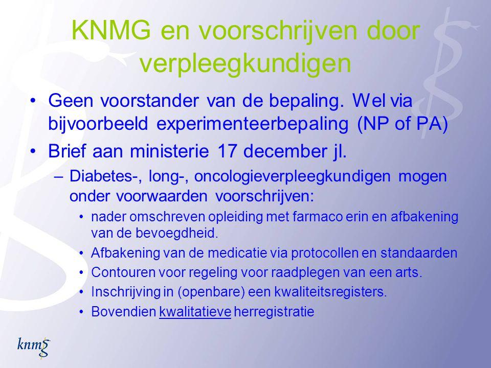 KNMG en voorschrijven door verpleegkundigen Geen voorstander van de bepaling.