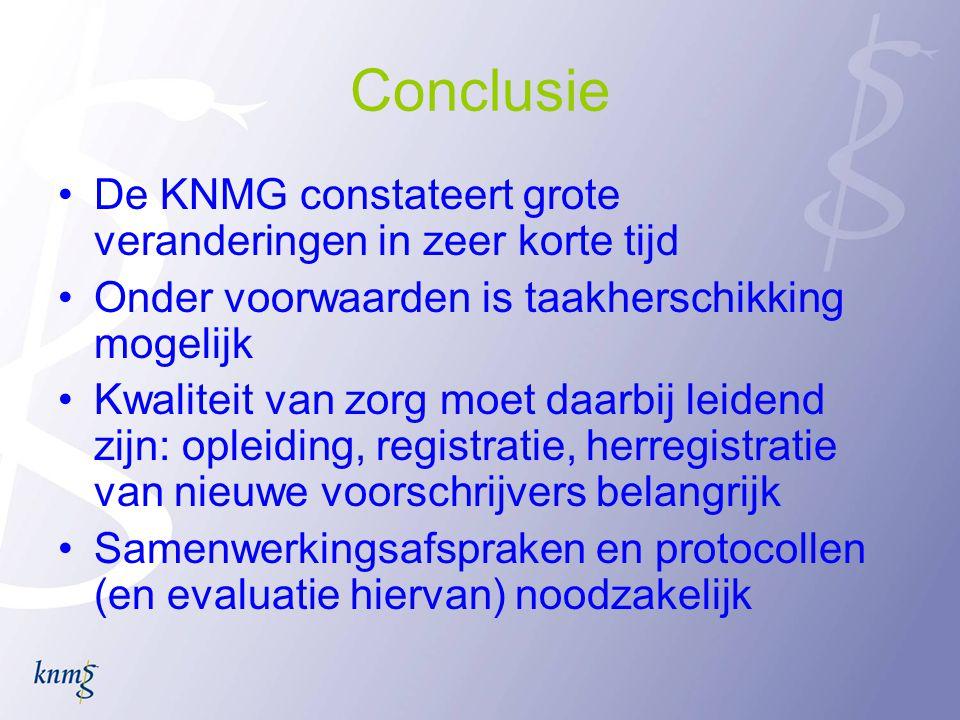 Conclusie De KNMG constateert grote veranderingen in zeer korte tijd Onder voorwaarden is taakherschikking mogelijk Kwaliteit van zorg moet daarbij leidend zijn: opleiding, registratie, herregistratie van nieuwe voorschrijvers belangrijk Samenwerkingsafspraken en protocollen (en evaluatie hiervan) noodzakelijk