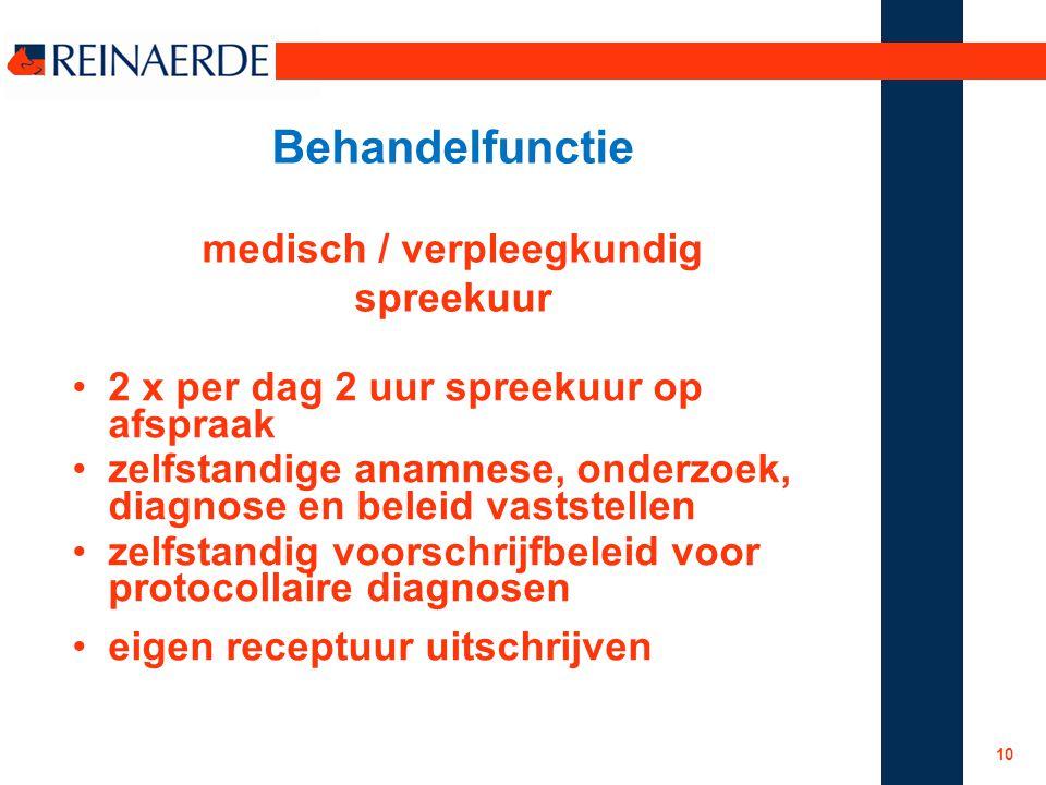 Behandelfunctie medisch / verpleegkundig spreekuur 2 x per dag 2 uur spreekuur op afspraak zelfstandige anamnese, onderzoek, diagnose en beleid vastst