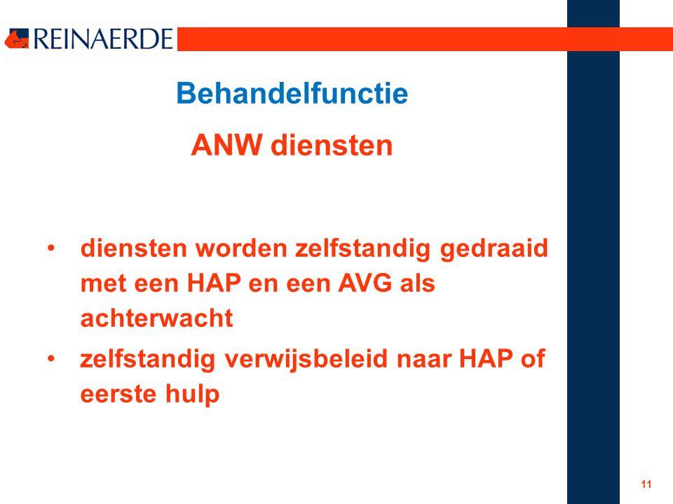 Behandelfunctie ANW diensten diensten worden zelfstandig gedraaid met een HAP en een AVG als achterwacht zelfstandig verwijsbeleid naar HAP of eerste hulp 11