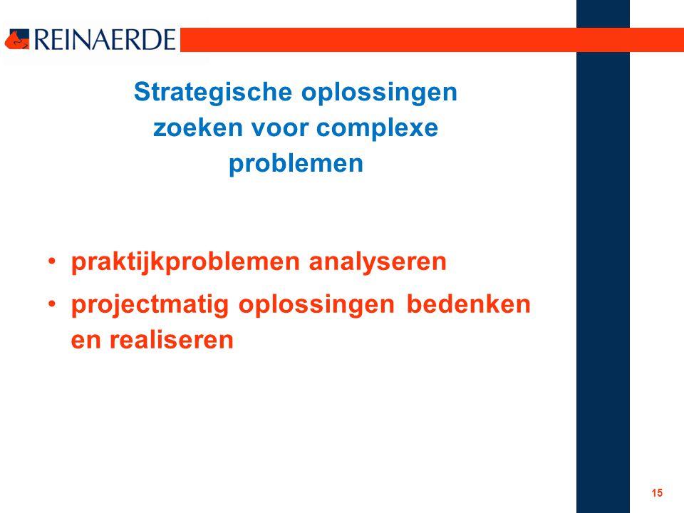 Strategische oplossingen zoeken voor complexe problemen praktijkproblemen analyseren projectmatig oplossingen bedenken en realiseren 15