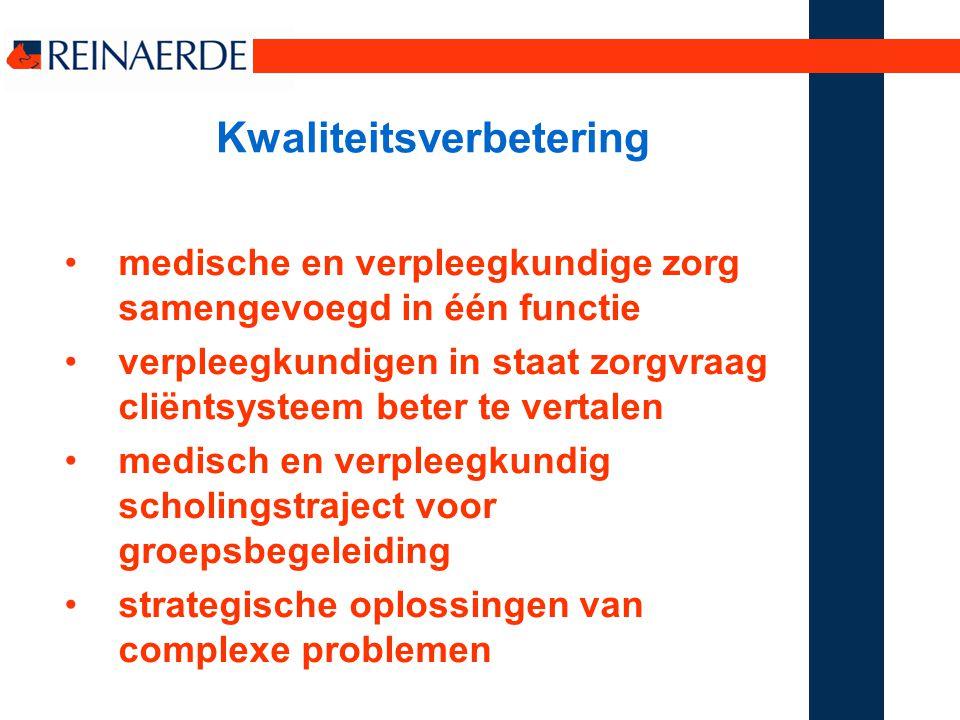 Kwaliteitsverbetering medische en verpleegkundige zorg samengevoegd in één functie verpleegkundigen in staat zorgvraag cliëntsysteem beter te vertalen