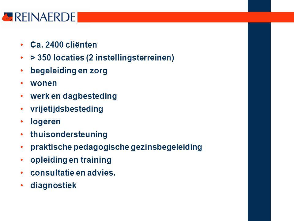 Ca. 2400 cliënten > 350 locaties (2 instellingsterreinen) begeleiding en zorg wonen werk en dagbesteding vrijetijdsbesteding logeren thuisondersteuni