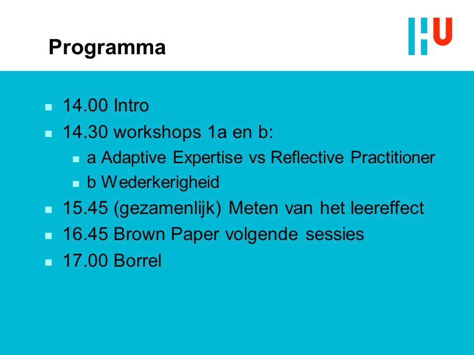 Programma n 14.00 Intro n 14.30 workshops 1a en b: n a Adaptive Expertise vs Reflective Practitioner n b Wederkerigheid n 15.45 (gezamenlijk) Meten va