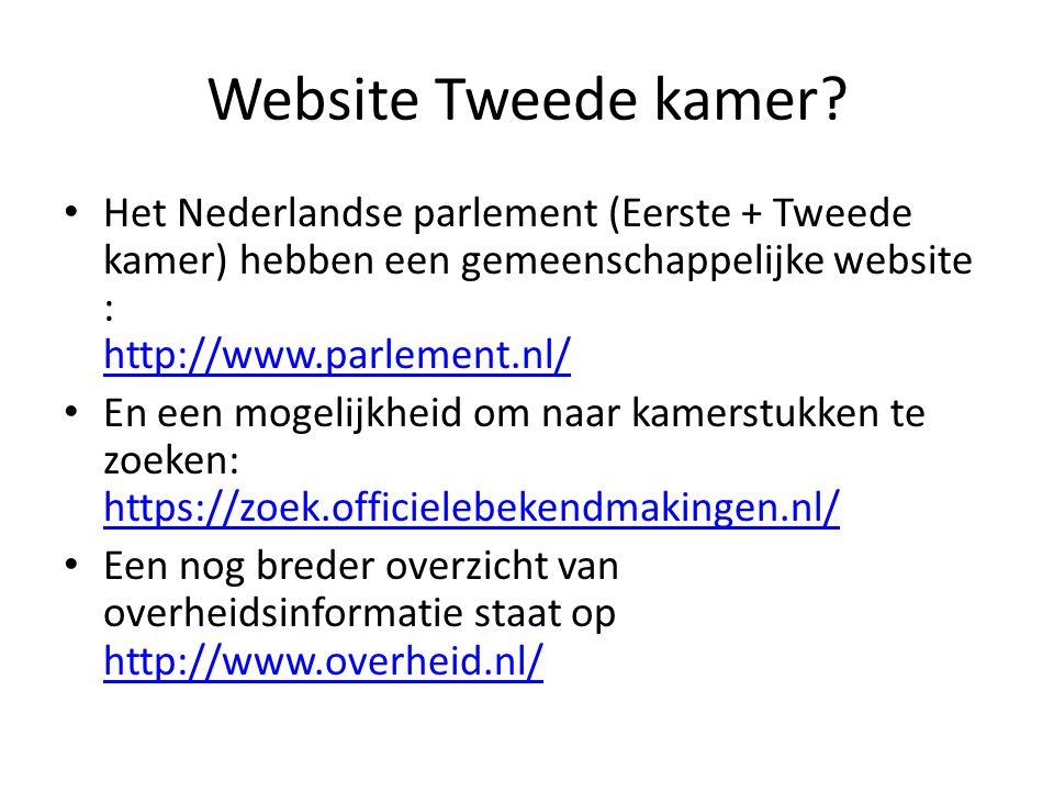 Website Tweede kamer? Het Nederlandse parlement (Eerste + Tweede kamer) hebben een gemeenschappelijke website : http://www.parlement.nl/ http://www.pa
